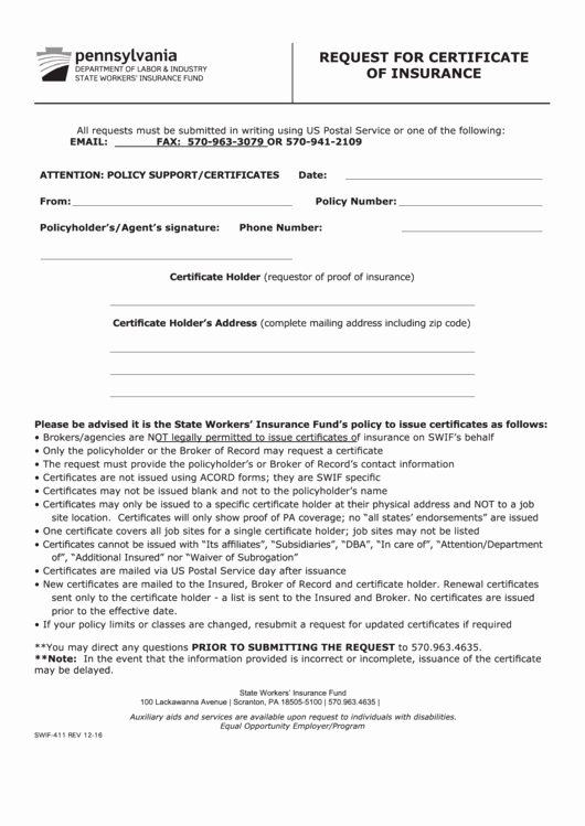 Certificate Of Insurance Request form Template Fresh form Swif 411 Request for Certificate Insurance