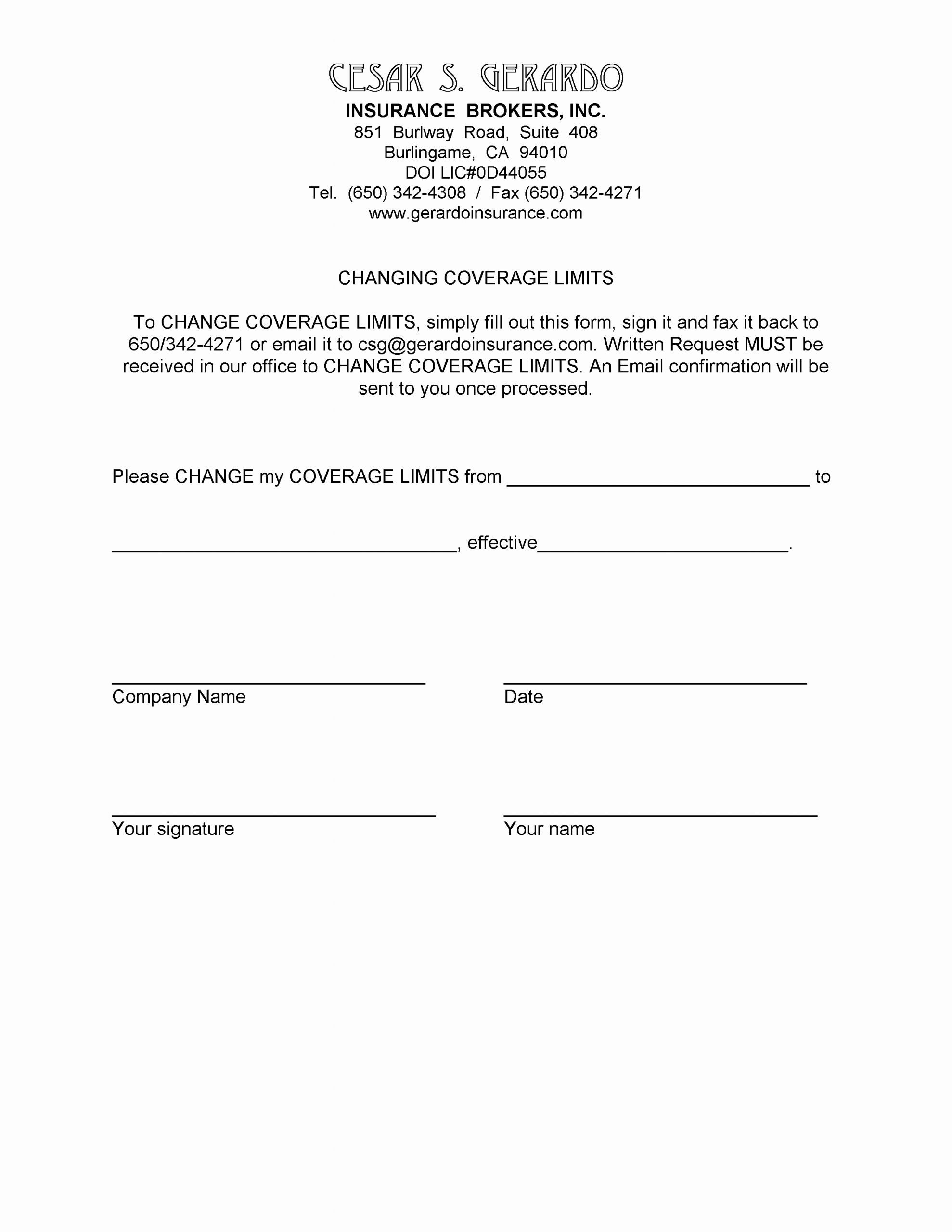 Certificate Of Insurance Request form Template New Cesar S Gerardo Insurance Brokers Inc