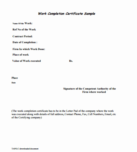 Certificate Of Job Completion Best Of 6 Work Pletion Certificate formats In Word Website
