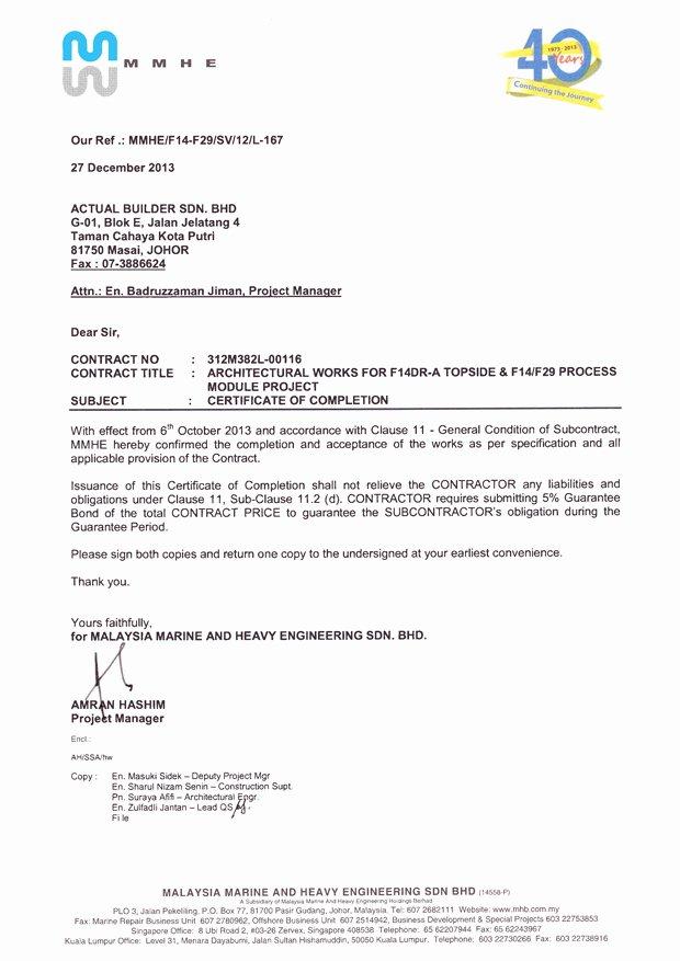 Certificate Of Job Completion Elegant Certification Of Pletion Johor Bahru Jb Johor Masai