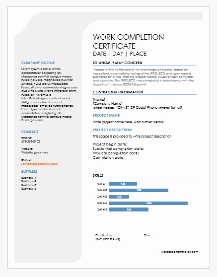 Certificate Of Job Completion Lovely 9 Best Work Pletion Certificates for Ms Word