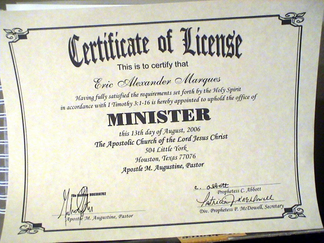Certificate Of License for Minister Template Beautiful Certificate Ministry License Template