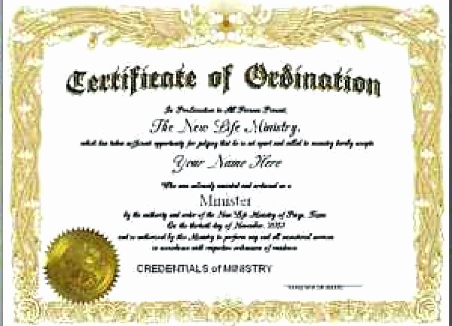 Certificate Of License for Minister Template Elegant ordained Minister Certificate