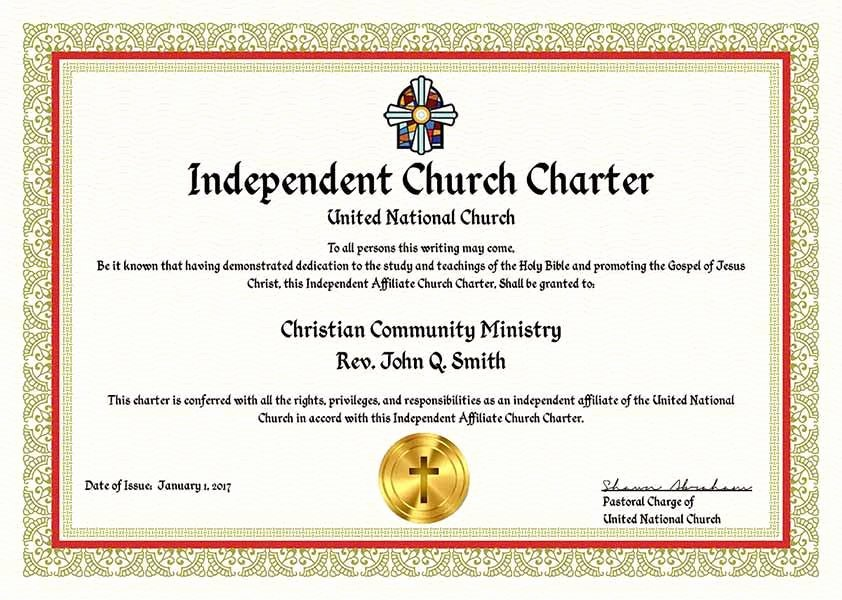 Certificate Of License for Minister Template Inspirational Plete Ministry Church Charter Package – United