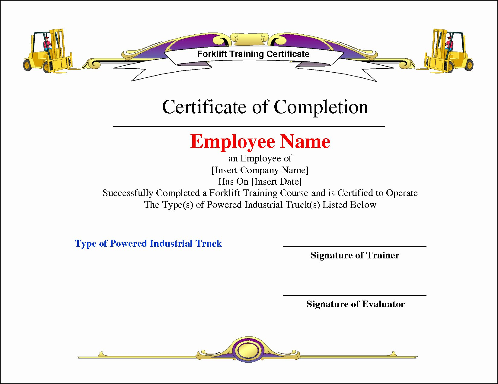 Certificate Of License for Minister Template Lovely forklift Certificate Template Free
