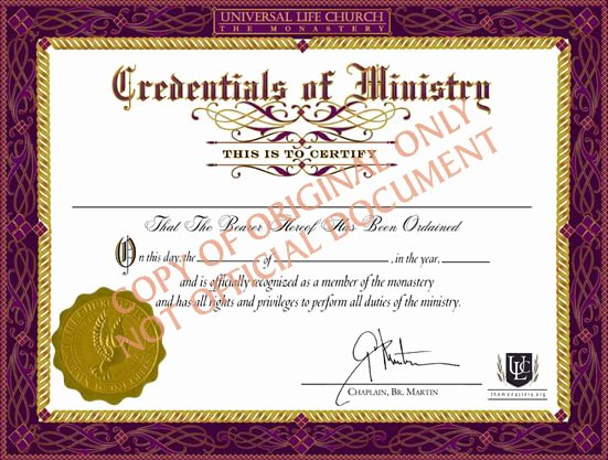 Certificate Of License for Minister Template Luxury Certificate In Ministry