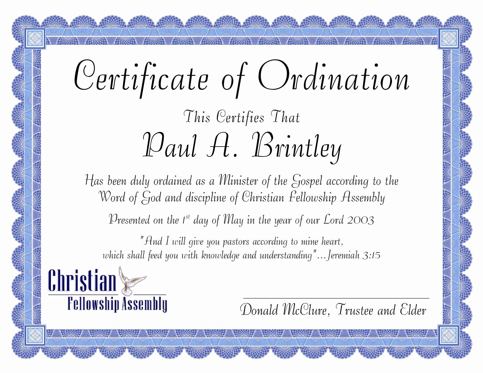 Certificate Of License for Minister Template Luxury Pastoral ordination Certificate by Patricia Clay issuu
