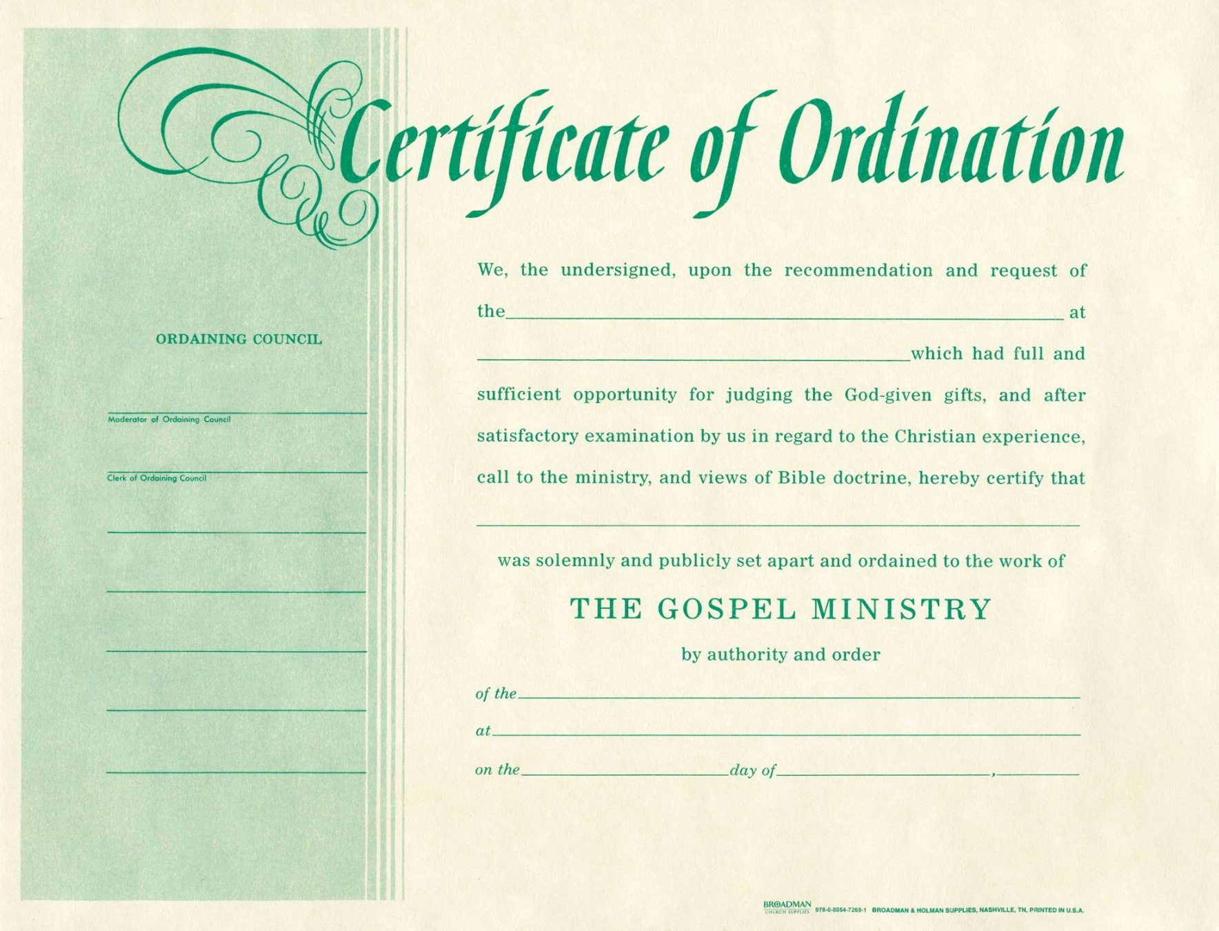Certificate Of License for the Gospel Ministry Template Fresh Printable ordination Certificates Starkhouseofstraussco