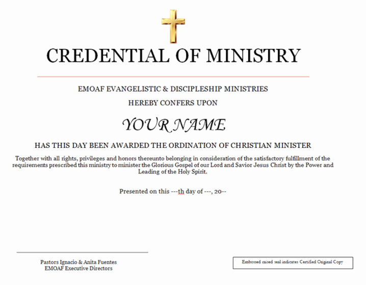Certificate Of License for the Gospel Ministry Template Luxury Christian ordination Services
