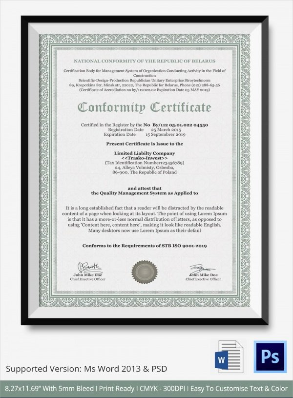 Certificate Of Manufacture Template Awesome Sample Certificate Of Conformance 19 Documents In Pdf