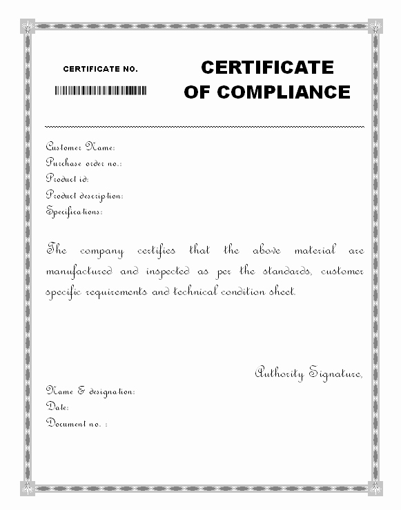 Certificate Of Manufacture Template Best Of Material Certificate Of Pliance form