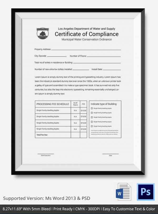 Certificate Of Manufacture Template Inspirational Certificate Of Pliance Template – 12 Word Pdf Psd