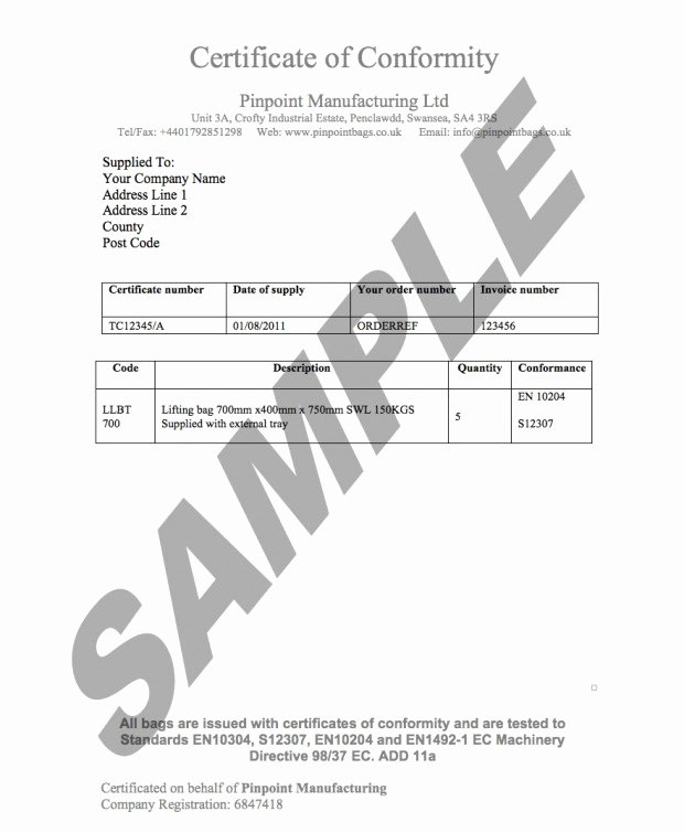Certificate Of Manufacture Template Inspirational Load Ratings