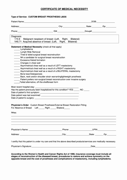Certificate Of Medical Necessity form Template Luxury Certificate Medical Necessity Printable Pdf