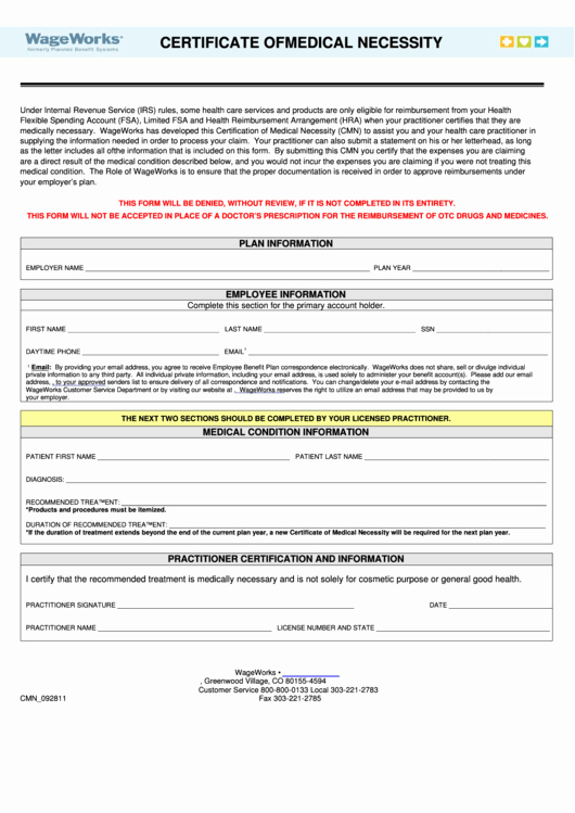 Certificate Of Medical Necessity form Template New Certificate Medical Necessity Template Printable Pdf