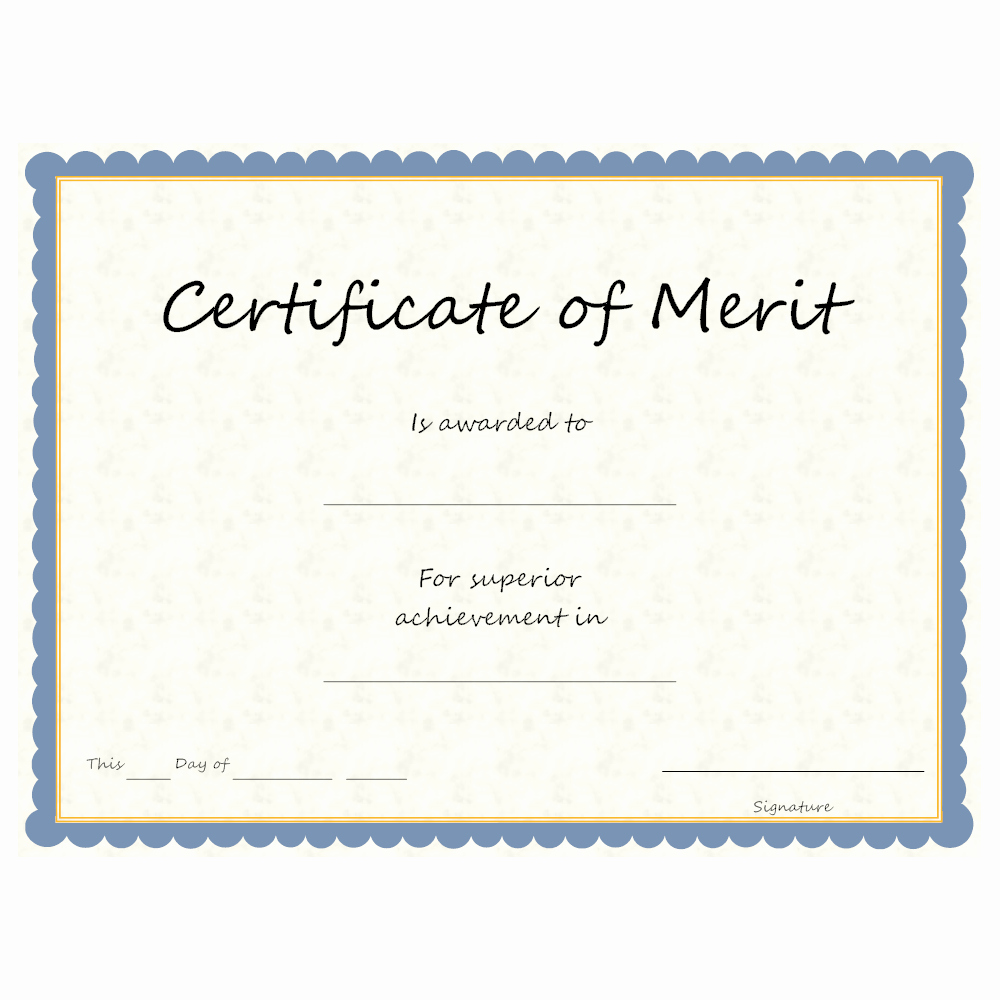 Certificate Of Merit Sample New Certificate Of Merit