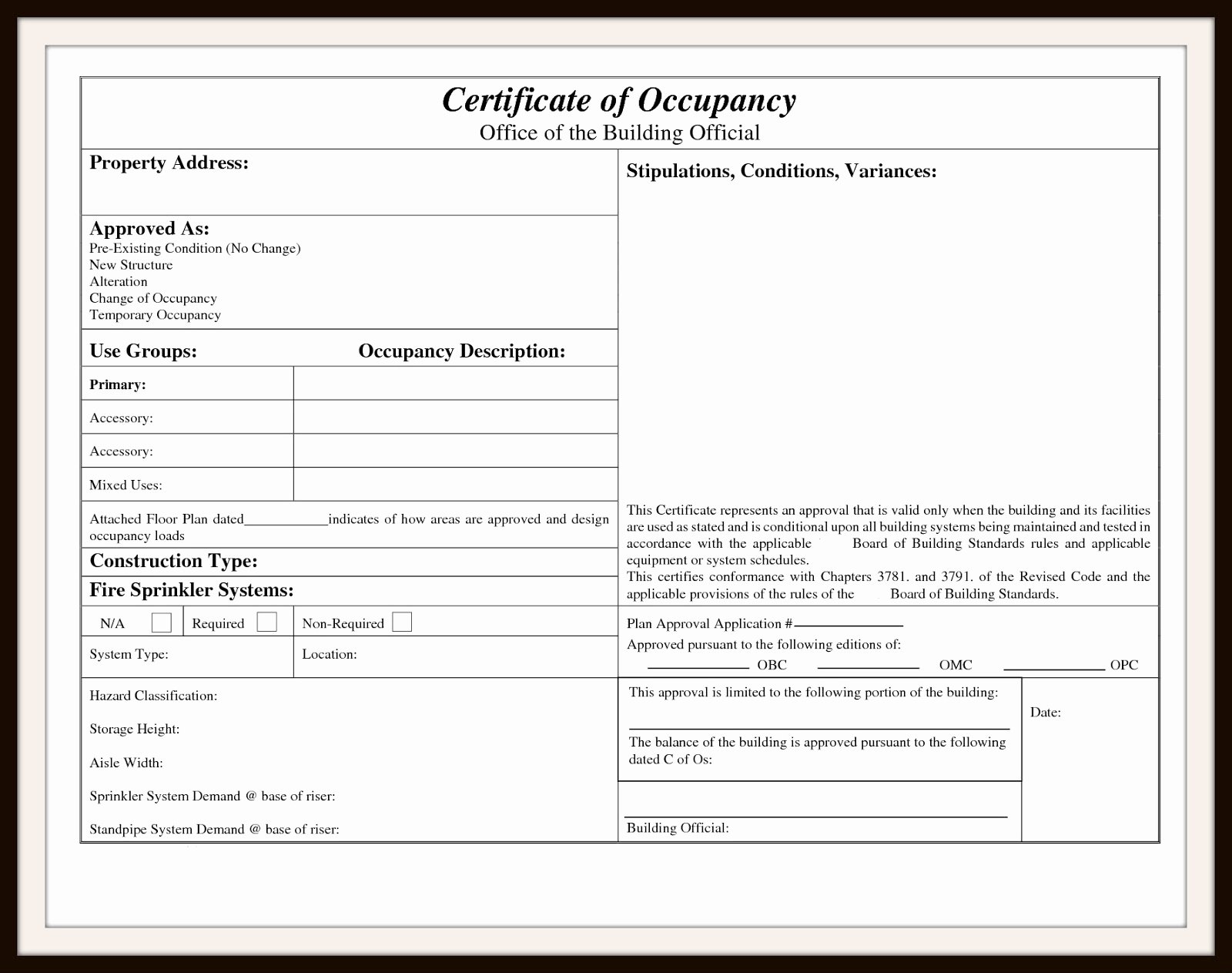 Certificate Of Occupancy Template Awesome Certificate Occupancy