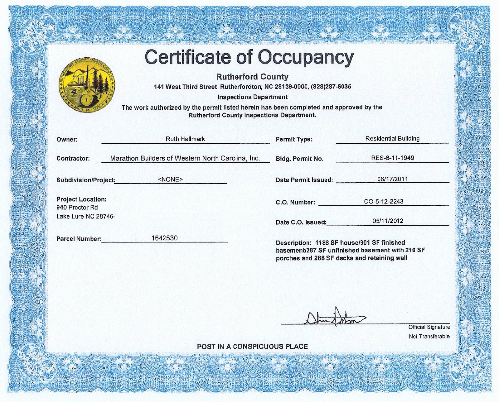 Certificate Of Occupancy Template Best Of the Hallmark Lodge at Lake Lure