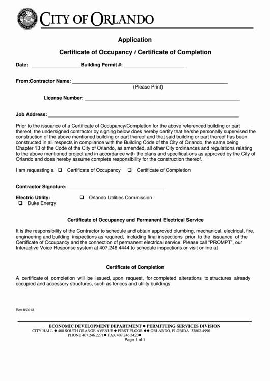 Certificate Of Occupancy Template Elegant top 26 Certificate Occupancy form Templates Free to