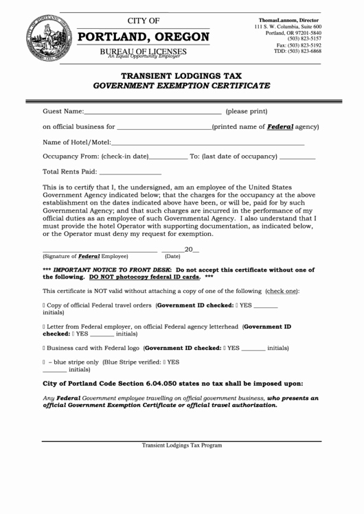 Certificate Of Occupancy Template Fresh Transient Lodging Tax Government Exemption Certificate