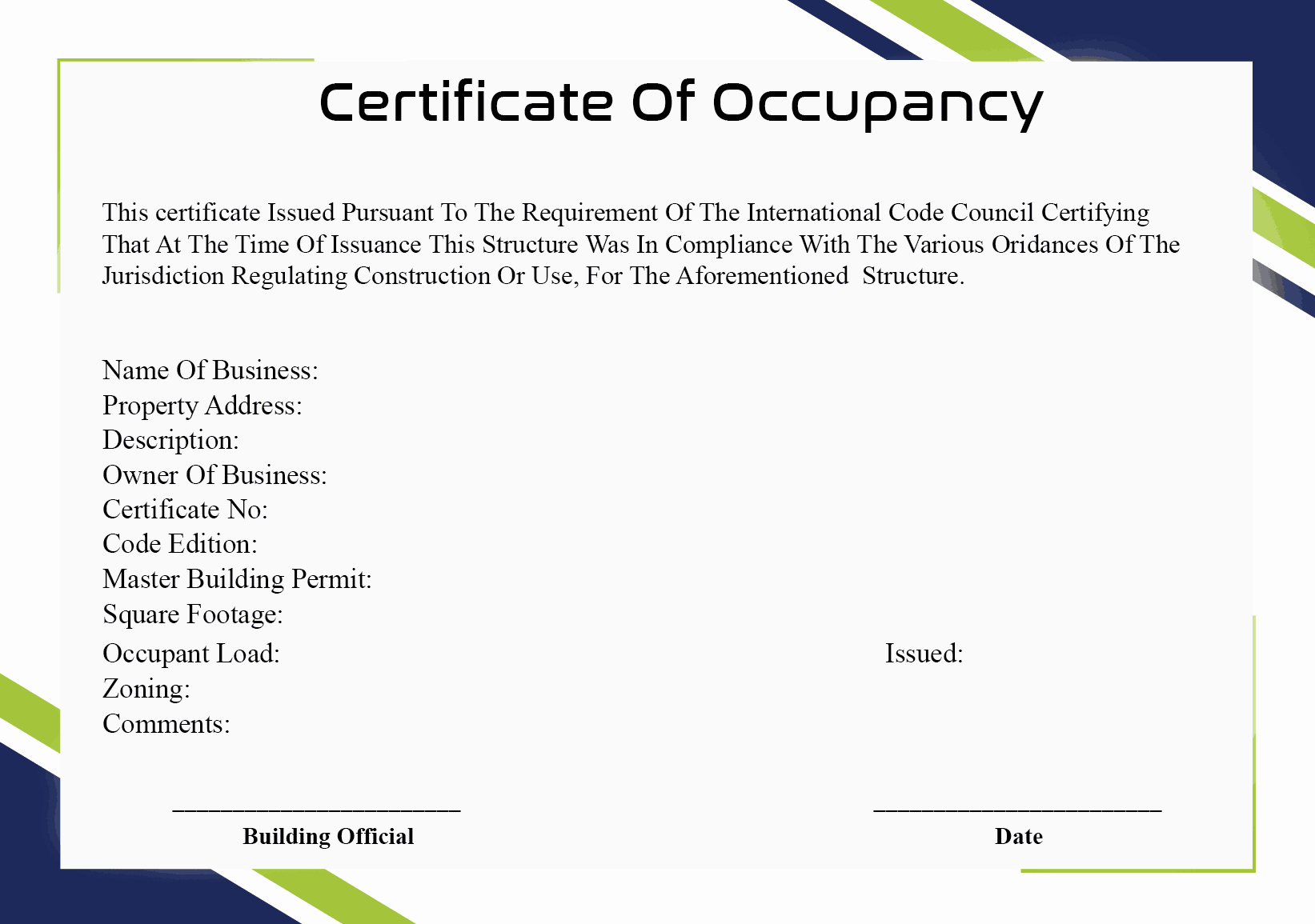 Certificate Of Occupancy Template New 4 Certificate Of Occupancy Templates Word Excel formats