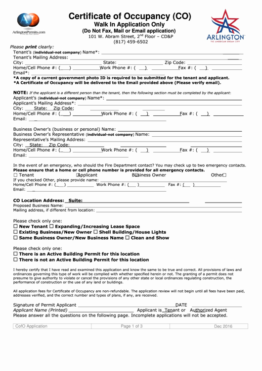 Certificate Of Occupancy Template New Certificate Occupancy Co Walk In Application Ly