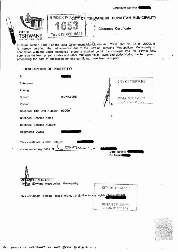 Certificate Of Occupancy Template New Municipal Rates & Taxes Clearance Certificate – Municipal