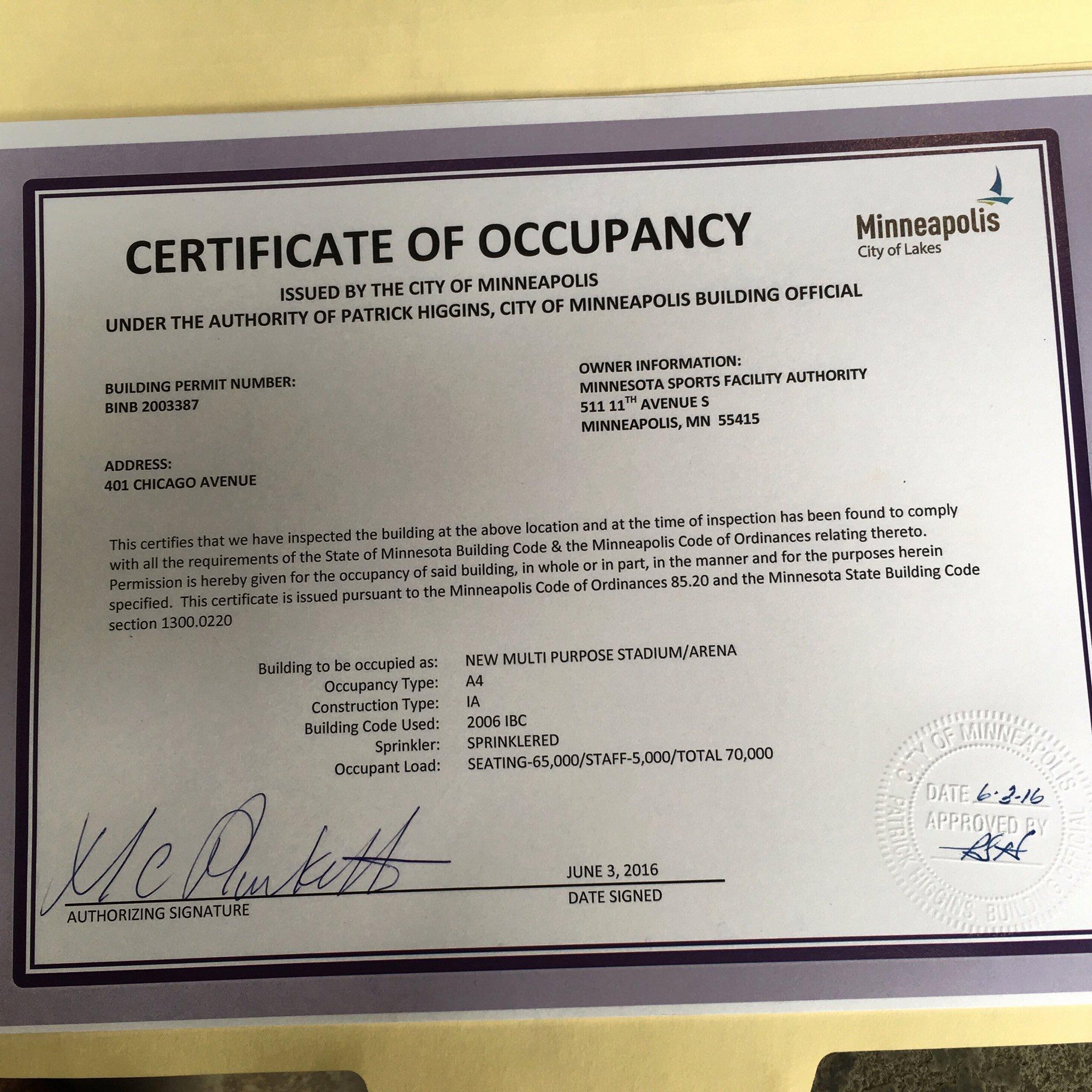 """Certificate Of Occupancy Template Unique U S Bank Stadium On Twitter """"certificate Of Occupancy"""