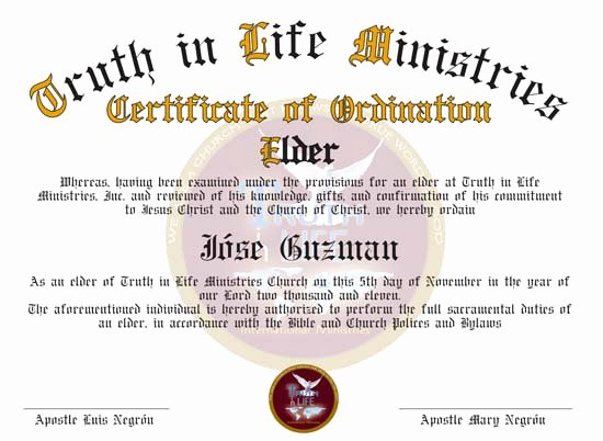 Certificate Of ordination Template Awesome ordination Certificates for Your Church