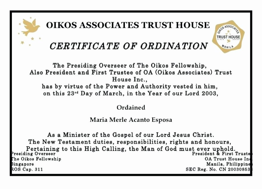 Certificate Of ordination Template Lovely ordained Minister Certificate