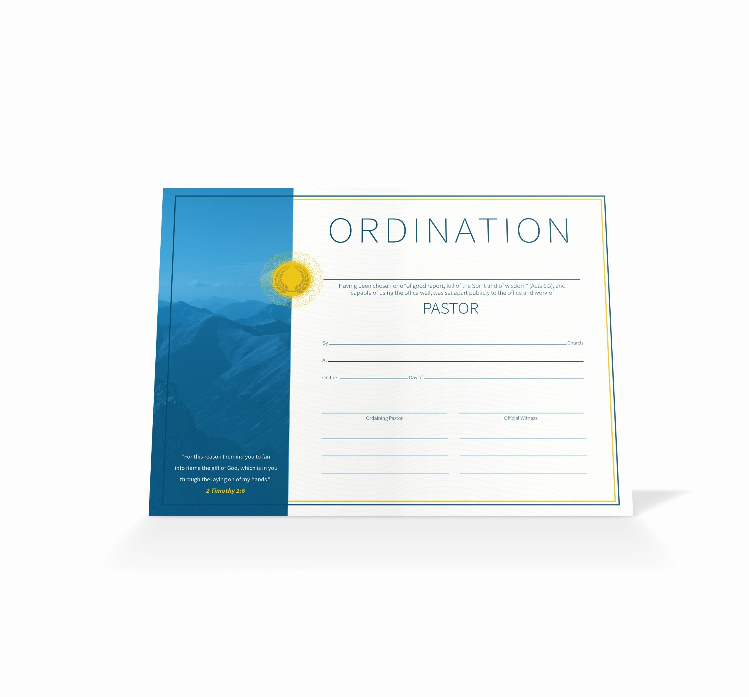 Certificate Of ordination Template New Pastor ordination Certificate Vineyard Digital Membership