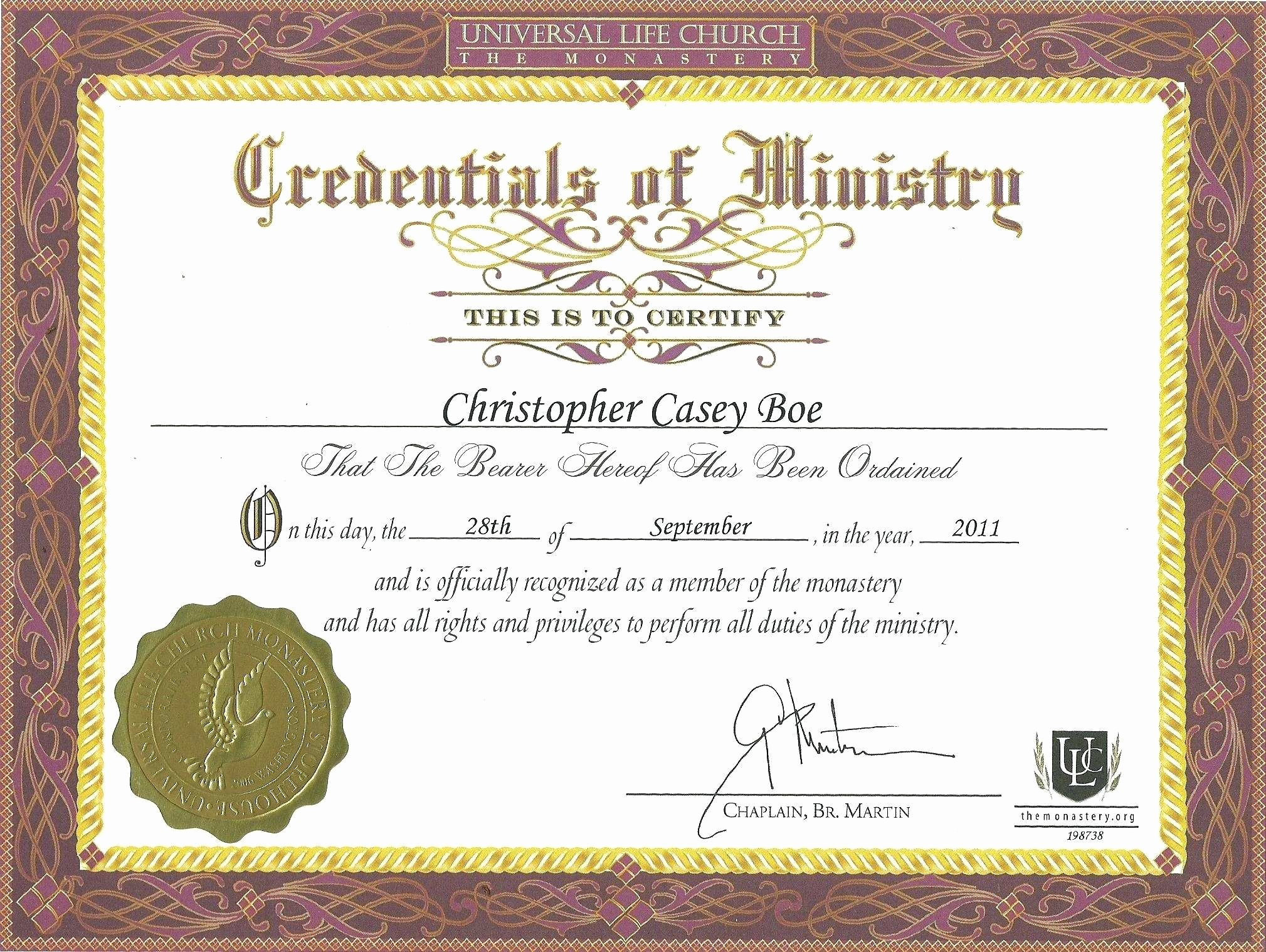 Certificate Of ordination Template Unique Minister ordination Certificate Detail Template ordination