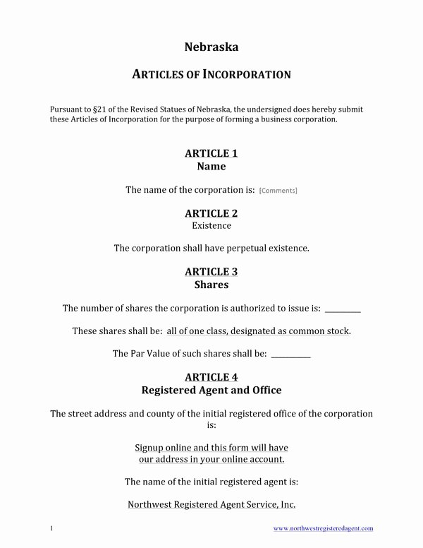 Certificate Of organization Nebraska Template Awesome Free Nebraska Articles Of Incorporation Template