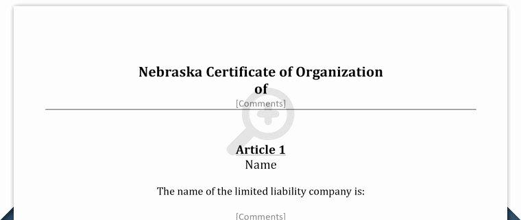 Certificate Of organization Nebraska Template Beautiful Free Nebraska Llc Articles Of organization Template