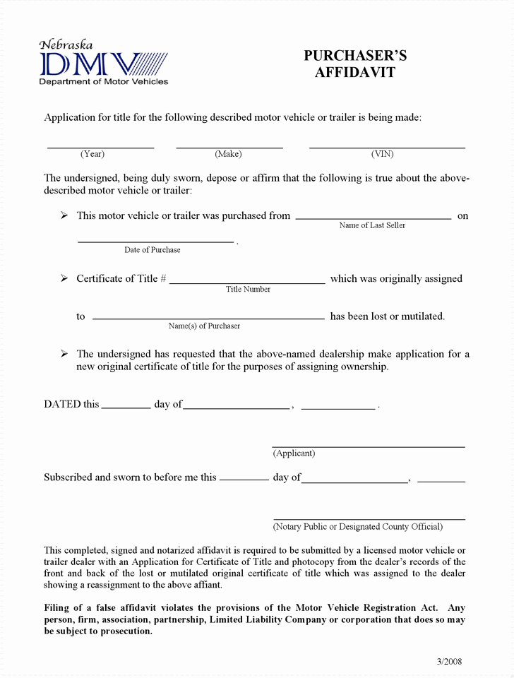 Certificate Of organization Nebraska Template Lovely Free Nebraska Purchaser S Affidavit Dealers Ly form