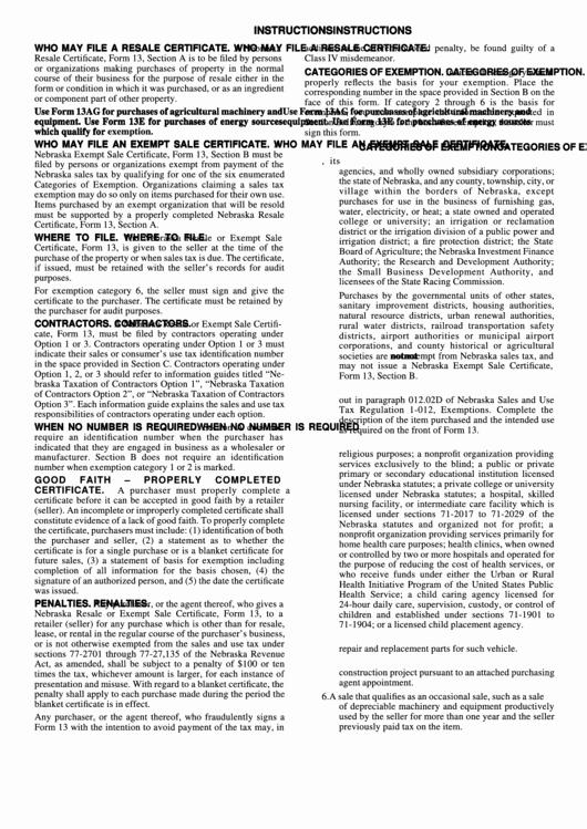 Certificate Of organization Nebraska Template Luxury Instructions for form 13 Nebraska Resale Certificate