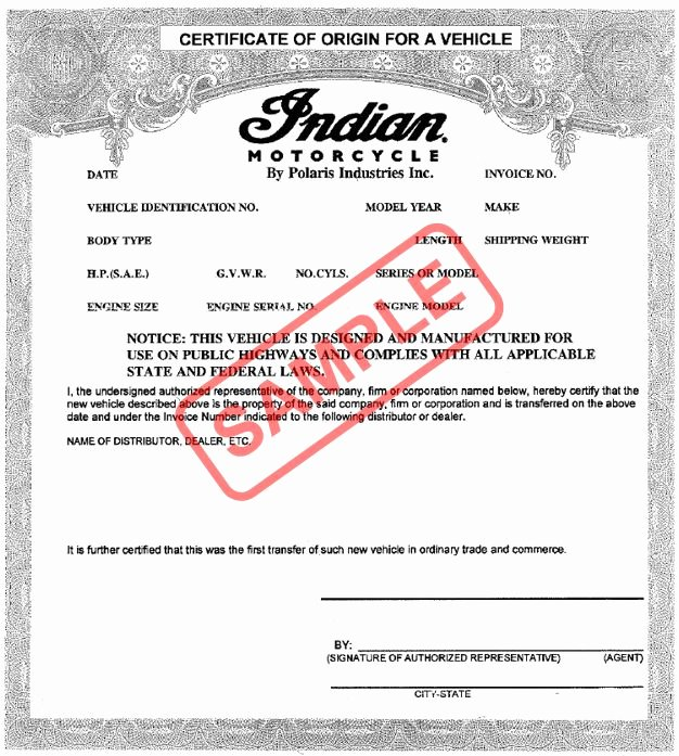 Certificate Of origin for A Vehicle Template Awesome Manufacturer Statement Of origin Duplicate