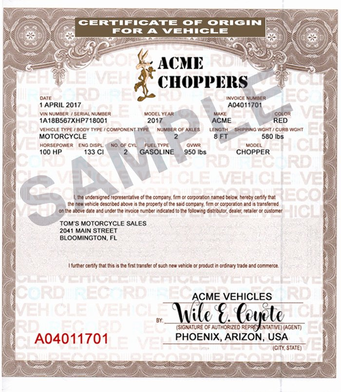 Certificate Of origin for A Vehicle Template Inspirational Discount Mco Manufactures Certificates Of origin Vehicles