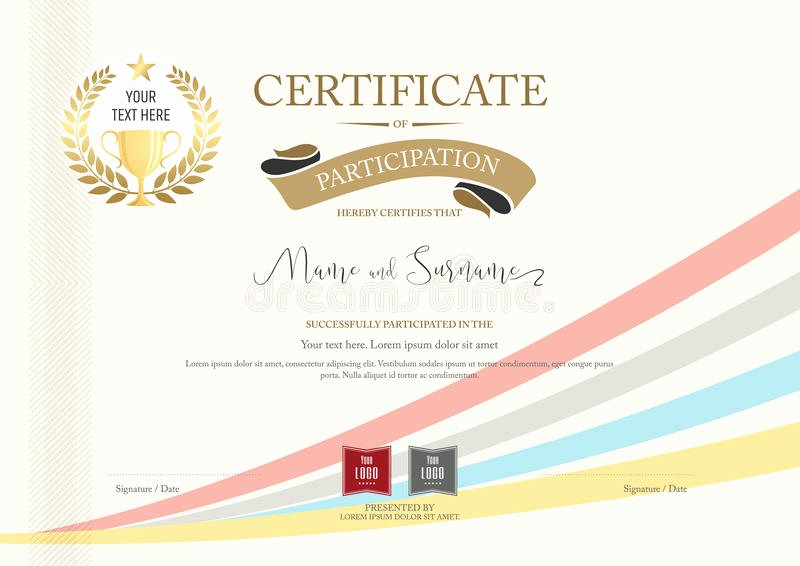 Certificate Of Participation Design Awesome Certificate Participation Template with Golden Award