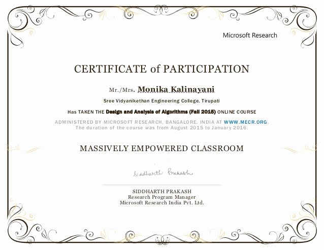 Certificate Of Participation Design Awesome Mec Fall 2015 Participation Certificate Monika