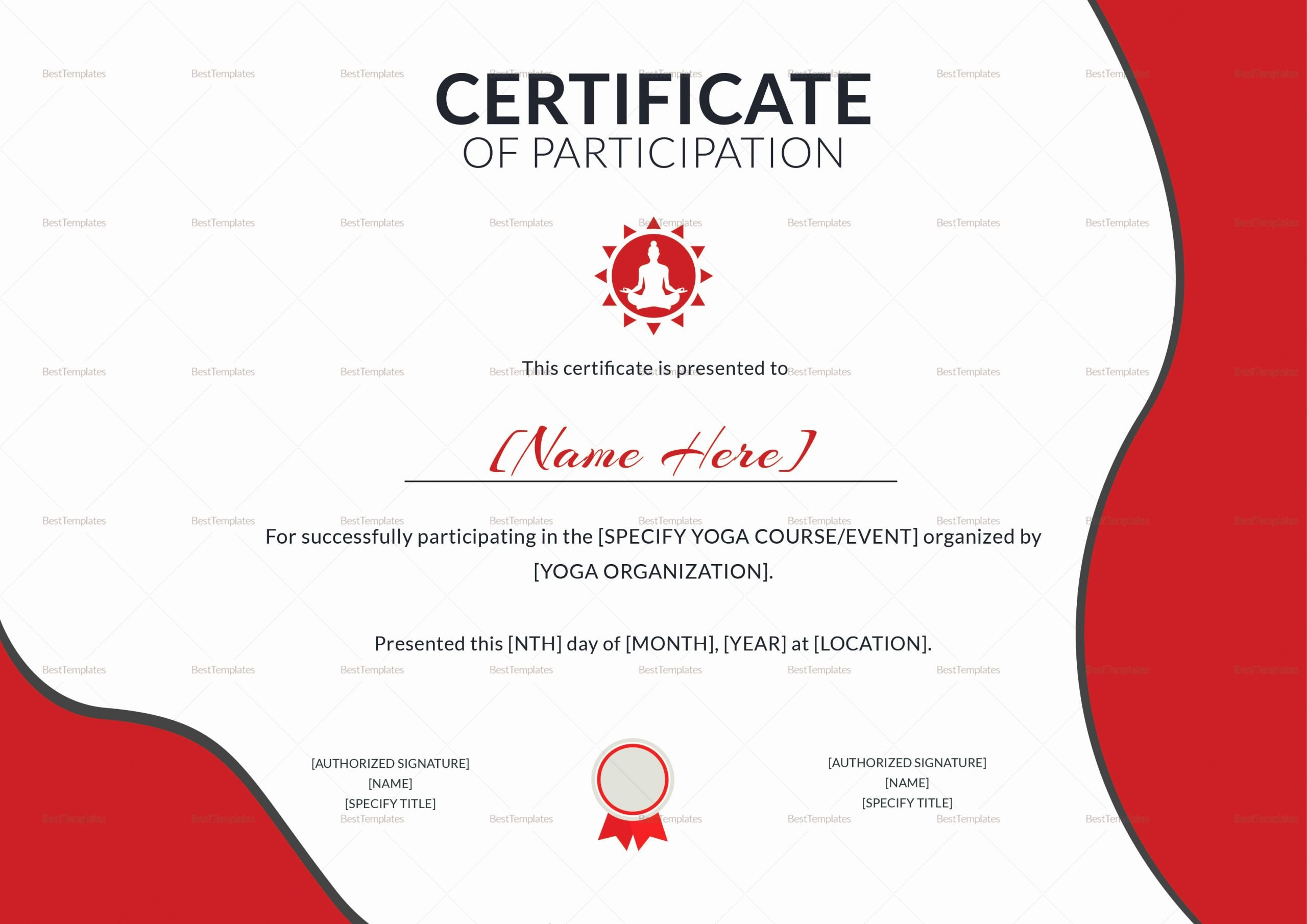 Certificate Of Participation Design Awesome Yoga Participation Certificate Design Template In Psd Word