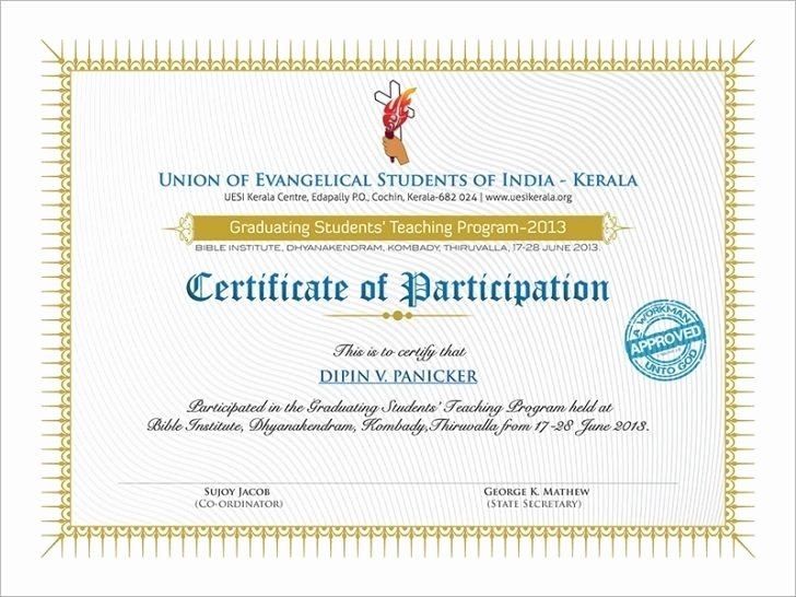 Certificate Of Participation Design Beautiful Certificate Participation Design Templates