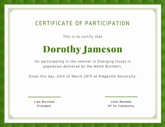 Certificate Of Participation Design Fresh Green Bordered Participation Certificate Templates by Canva
