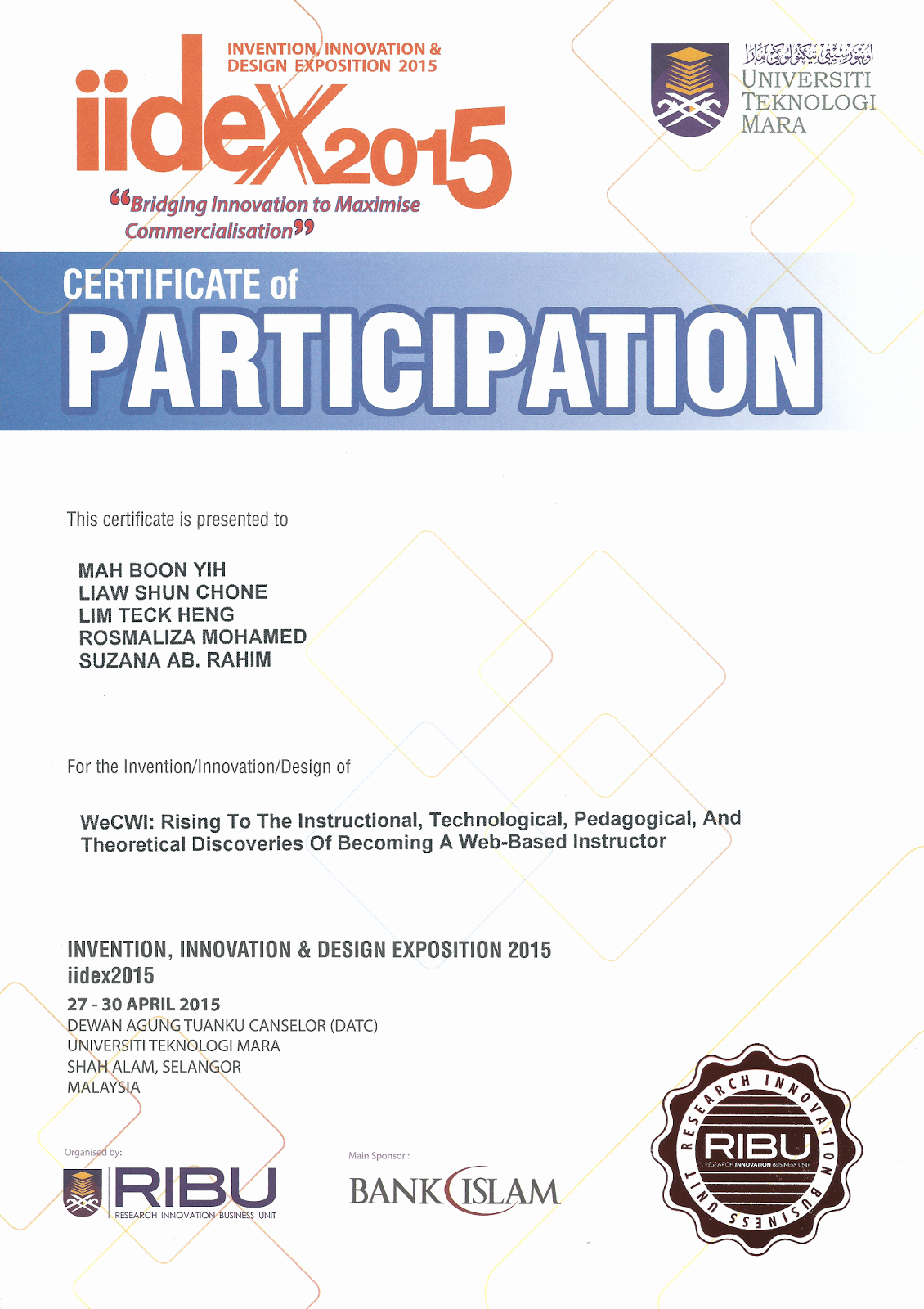 Certificate Of Participation Design Luxury Invention Innovation & Design Exposition Iidex2015