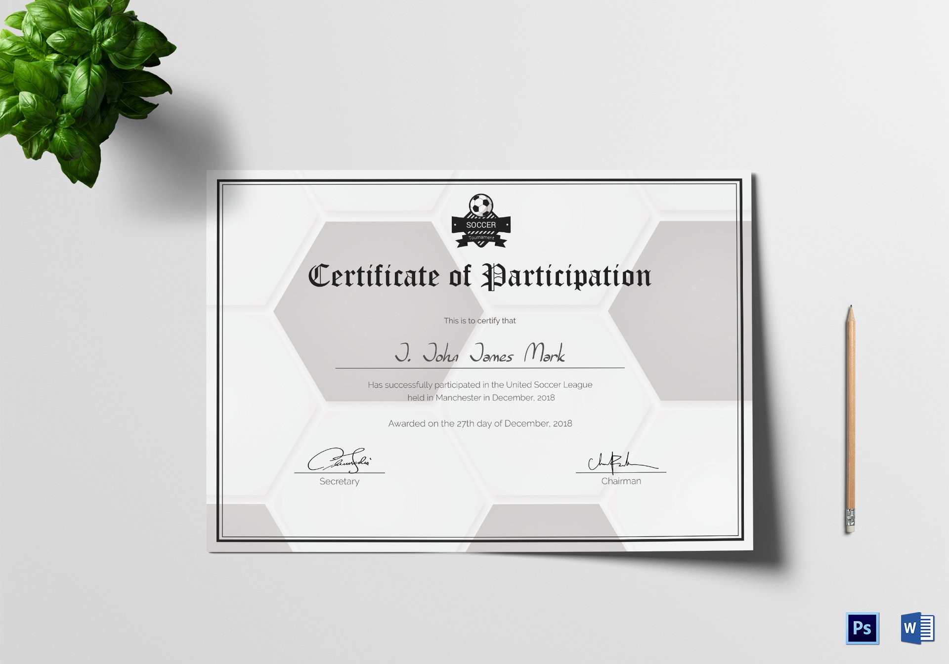 Certificate Of Participation Design Luxury soccer Participation Certificate Design Template In Psd Word