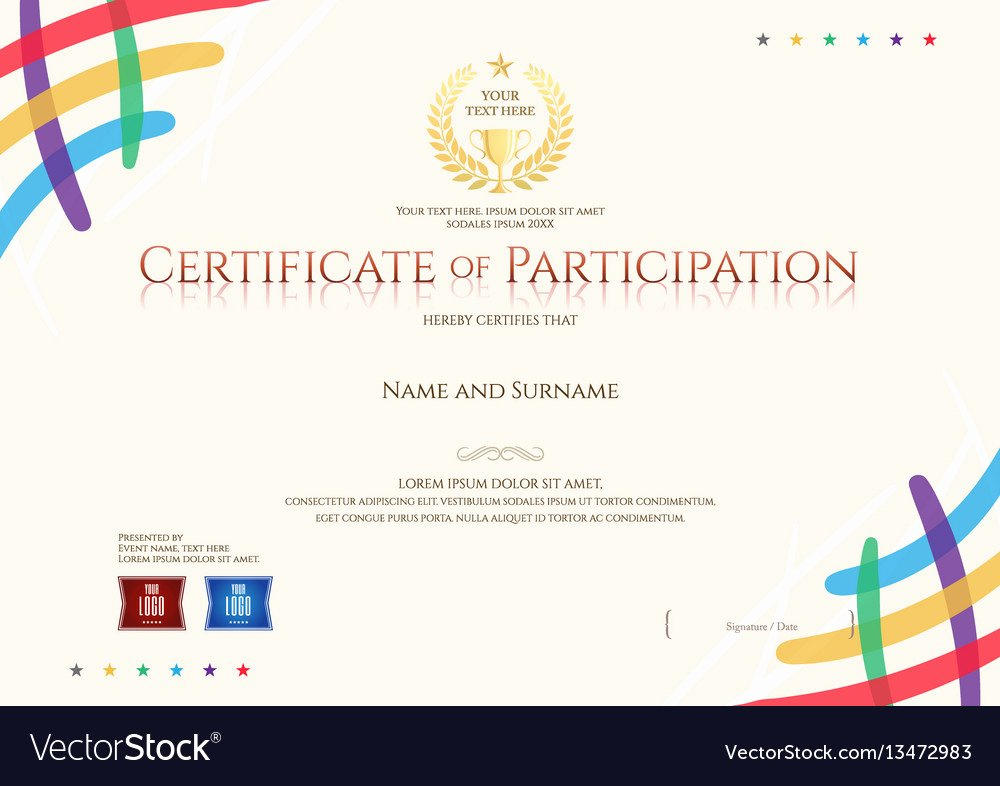 Certificate Of Participation Design New Certificate Of Participation Template Royalty Free Vector