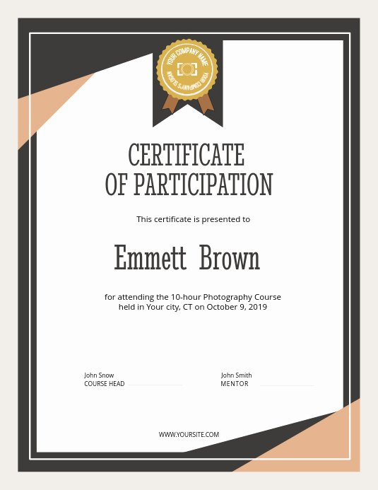 Certificate Of Participation Design New Copy Of Certificate Of Participation Portrait