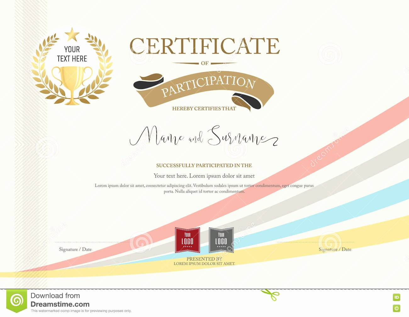 Certificate Of Participation Design Unique Certificate Participation Template with Golden Award