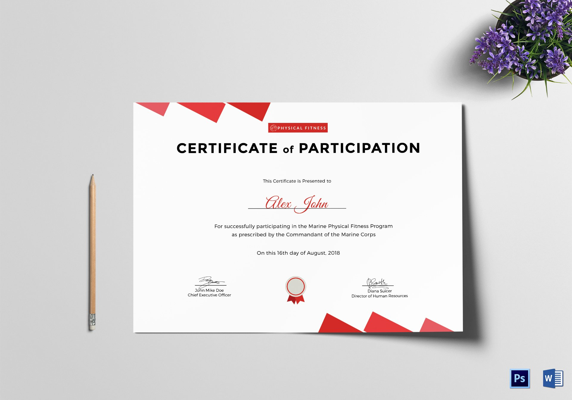 physical fitness participation certificate