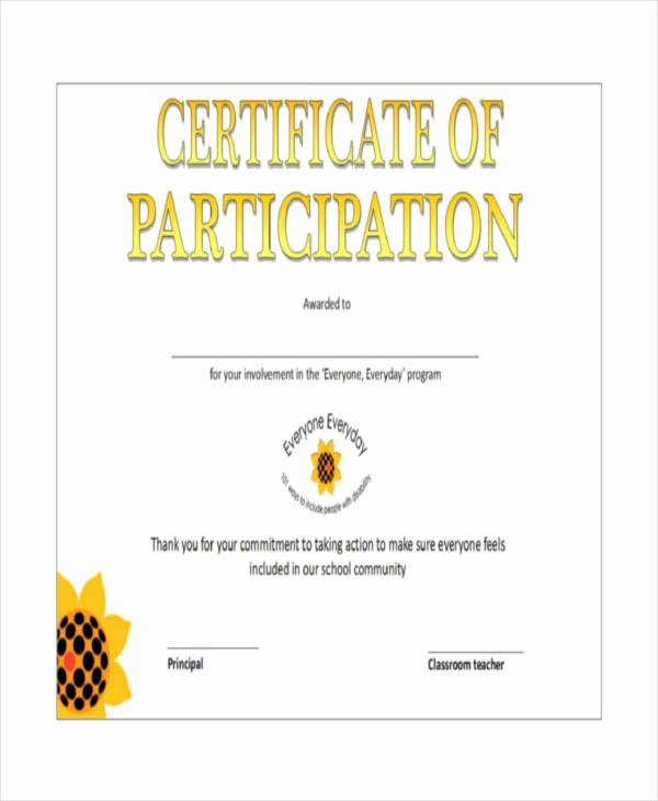 Certificate Of Participation Pdf Beautiful 12 Certificate Of Participation Templates Word Psd Ai